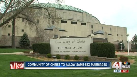 The local NBC affiliate in Kansas City, Missouri lead off their newscast on 21 April 2013 with the Community of Christ's announcement to allow same sex marriage.