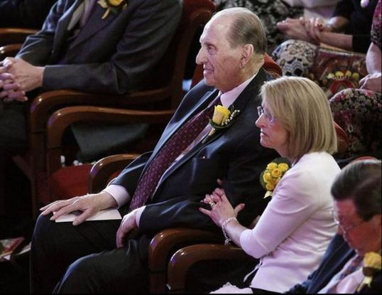 President Thomas S. Monson of The Church of Jesus Christ of Latter-day Saints listens during funeral services for his wife, Sister Frances J. Monson, at the Tabernacle in Salt Lake City, Thursday, May 23, 2013.