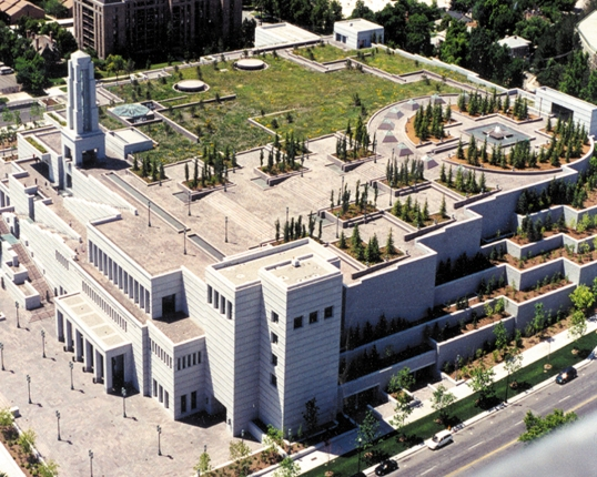 The Conference Center in Salt Lake City, Utah is the world's largest indoor religious auditorium and seats 21,000+ visitors. The roof is cover in over three acres of gardens with a fountain located in the northeast corner of the roof.