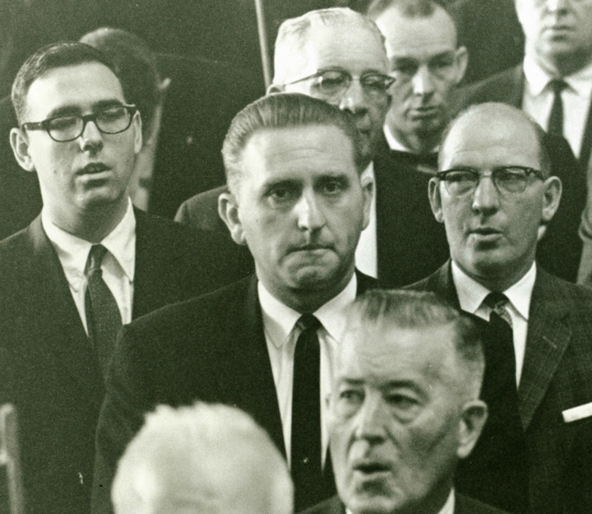 President Thomas S. Monson sits in the audience at the Tabernacle on Temple Square on October 4, 1963, moments before he was sustained as a General Authority and invited to the stand.
